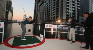 Paul Dunne of Ireland plays a shot during the Hero Challenge at Canary Wharf in London ahead of the 2018 British Masters. Photo: Andrew Redington/Getty Images
