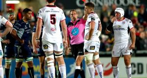 Referee Andrew Brace shows Ulster's Matthew Rea the red card against Connacht during the Guinness Pro14 fixture at  Kingspan Stadium. Photograph: James Crombie/Inpho.