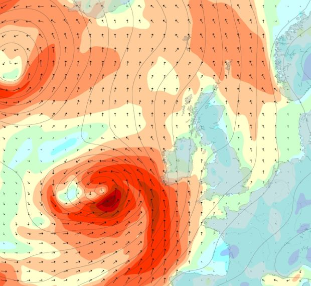 A chart showing wind strangth at 9pm on Thursday. Photograph: Magicseaweed.com