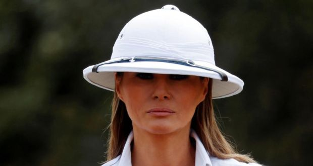 29d7b1bfeb4 Melania Trump in her pith helmet and whites in Nairobi. Photograph