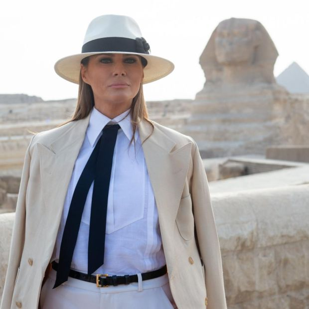 Egyptian ensemble: the first lady's outfit drew comparisons to that of a well-known film villain. Photograph: Saul Loeb/AFP/Getty