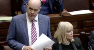 Minister for Communications Denis Naughten announces his resignation in the Dáil.