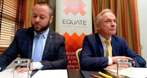 Director of Equate  Michael Barron with Minister for Education Richard Bruton at a school admissions seminar organised by Equate last year. Photograph: Cyril Byrne/The Irish Times