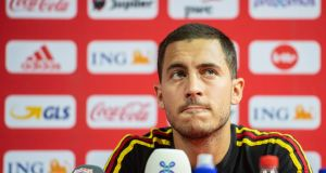 Eden Hazard during a press conference for the Belgium national team ahead of the Nations League. Photograph: EPA