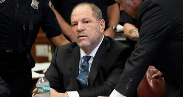 Harvey Weinstein sits during his hearing at Manhattan criminal court in New York, US. Photograph: Steven Hirsch/Pool via Reuters
