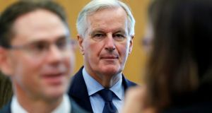 EU Brexit negotiator Michel Barnier in Brussels on Wedmesday. Photograph:  Yves Herman/Reuters