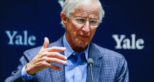 William Nordhaus  after winning the 2018 Nobel Prize in Economic Sciences at Yale University on Monday. Photograph:  Eduardo Munoz Alvarez/Getty Images