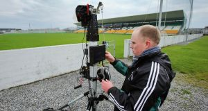 Rob Carroll in Tullamore in 2013 setting up to record Kildare's statistics. Photograph: Cathal Noonan/Inpho