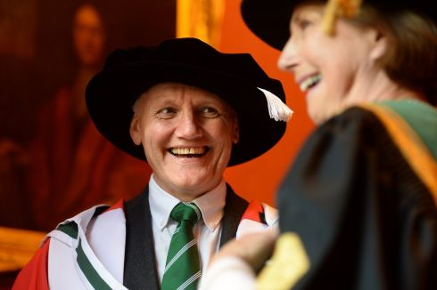 Joe Schmidt, doctor of arts and Attracta Halpin, NUI registrar, at NUI annual honorary conferring ceremony in Corrigan Hall, Royal College of Physicians in Ireland, Dublin. Photograph: Dara Mac Donaill/The Irish Times