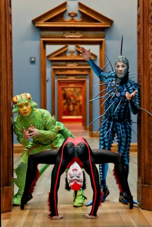 The Cirque du Soleil cast visit the National Gallery's Circus250 exhibition. Photograph: Tony Maxwell