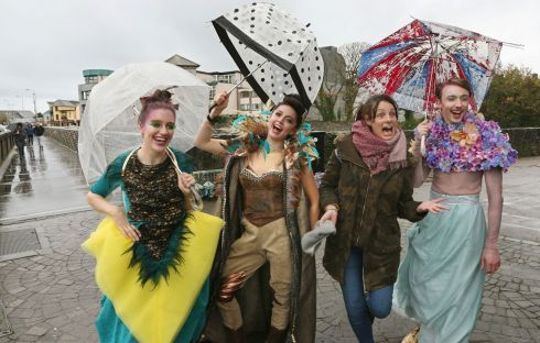 Macnas artist director Noeline Kavanagh  with Yvette Pique, JoJo Hynes and Connor Burke Kennedy, while giving a sneak preview of this year's Macnas Halloween Parade Out of the Wild Sky in Galway on Thursday. Photograph: Joe O'Shaughnessy
