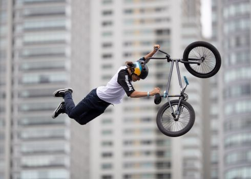 Inaki Iriartes of Argentina competing in the Mixed BMX Freestyle Park Men's Big Final at the Youth Olympic Games. Photograph: Simon Bruty/EPA