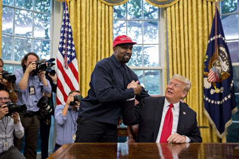 Rapper Kanye West with US president Donald Trump in the Oval Office of the White House. Photographer: Andrew Harrer/Bloomberg
