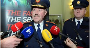 Then Garda commissioner Martin Callinan photographed alongside Supt David Taylor at a road safety event in 2012. Photograph: Brenda Fitzsimons