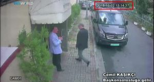 A screen shot from a police CCTV video made available through Turkish Newspaper Sabah allegedly shows Saudi journalist Jamal Khashoggi (right) entering the Saudi consulate in Istanbul on October 2nd.