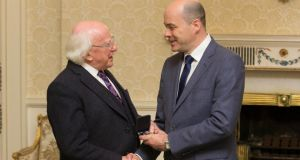 Michael D Higgins and Denis Naughten  during an Appointment of Ministers Seal of Office ceremony. Photograph: Gareth Chaney Collins