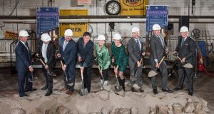 Actor  Gabriel Byrne was joined by Ciarán Madden, Consul General of Ireland and other dignitaries and members of the Irish Arts Centre board  as they broke ground today on the New Irish Arts Centre in New York on Thursday.