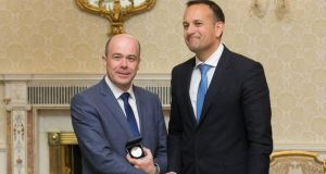 Former  minister Denis Naughten and Taoiseach Leo Varadkar. Photograph: Gareth Chaney Collins