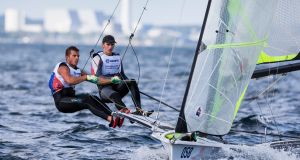 49er skiff helm Robert Dickson from Howth Yacht Club with crew Seán Waddilove from Skerries Sailing Club at the Hempel Sailing World Championships in Aarhus in August. Photograph: David Branigan/Oceansport