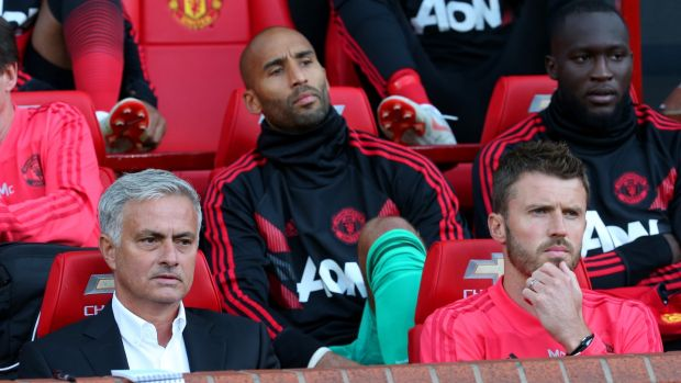 Carrick with Mourinho in the Old Trafford dugout. Photo: Matthew Peters/Man Utd via Getty Images