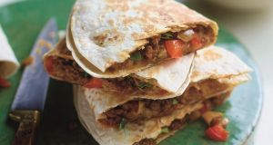 Spice up midweek with an ethnic-inspired cheesy lamb quesadilla