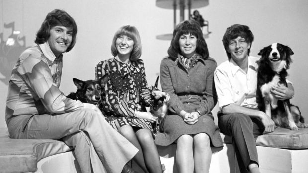 Blue Peter way back in '72: Peter Purves, Lesley Judd, Valerie Singleton, John Noakes and Shep. Photograph: PA Wire