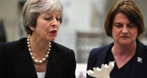 UK prime minister Theresa May with DUP leader Arlene Foster, on whom her government depends for survival. Photograph: Clodagh Kilcoyne/Pool/Reuters