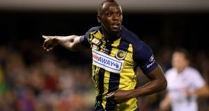 Usain Bolt of the Mariners celebrates after scoring a goal during a Hyundai A-League trial match between the Central Coast Mariners and Macarthur South West United. Photo: Reuters