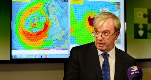 Sean Hogan, chairman at the National Emergency Coordination Centre, at a press conference to announce details of storm Ophelia. Photograph: Cyril Byrne/The Irish Times
