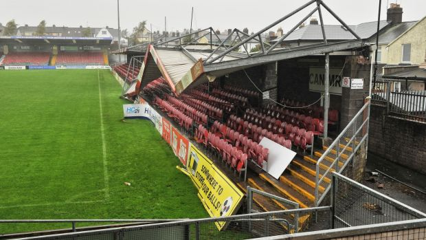 Hurricane winds collapsed a stand at Turners Cross, Cork city during Storm Ophelia. Photograph: Daragh Mc Sweeney/Provision
