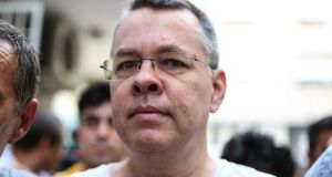 "US pastor Andrew Brunson in July 2018. Brunson told the court on Friday: ""I am an innocent man. I love Jesus, I love Turkey."" Photograph: AFP/Getty Images"