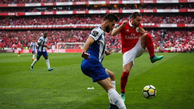Porto's Brazilian defender Felipe in action against with Benfica's Andrija Zivkovic during a Portuguese league match at Estádio de Luz in April. Photograph: Carlos Costa/AFP/Getty Images