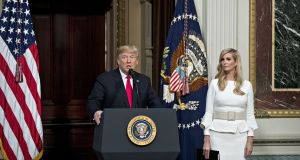 US president Donald Trump and Ivanka Trump in Washington on Thursday. The president's grasp of basic economics is even weaker than it already appears to be. Photograph: Andrew Harrer/Bloomberg