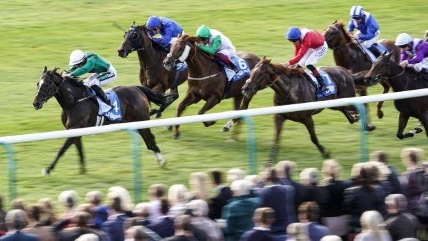 Limato and Harry Bentley pull clear at Newmarket. Photograph: Alan Crowhurst/Getty
