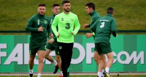 Shane Long at Republic of Ireland squad training in Dublin. Long will be looking for his first goal for Ireland in two years. Photograph: Ryan Byrne/Inpho