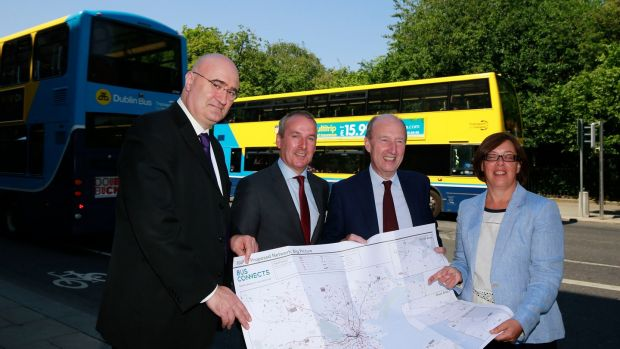 Jarrett Walker, the principal architect of the BusConnects plan for Dublin; Dublin Bus chief executive Ray Coyne; Minister for Transport Shane Ross; and NTA chief executive Anne Graham. Photograph: Nick Bradshaw