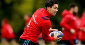 Munster's Joey Carbery in training ahead of the province's Champions Cup opener with Exeter Chiefs. Photograph:   Ryan Byrne/Inpho