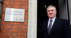 Supt David Taylor at the entrance of the Disclosures Tribunal at Dublin Castle. Photograph: Cyril Byrne/The Irish Times