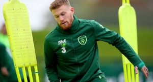 James McClean at the Republic of Ireland squad training in Dublin on Friday. Photograph: Ryan Byrne/Inpho