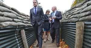 IN THE TRENCHES: Taoiseach Leo Varadkar makes his way through a replica first World War trench at Cavan County Museum in Ballyjamesduff.  Photograph: Lorraine Teevan