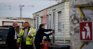 The scene off Prussia Street this afternoon as notices were posted on the mobile homes. Photograph: Nick Bradshaw