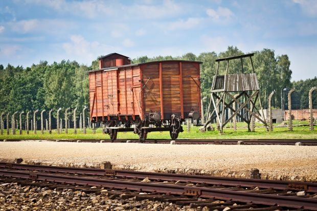 The freight wagon which stands in the centre of the camp. Its an example of those used to carry people from across Europe in trains to the camp. Photograph: iStock
