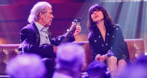 Finbar Furey and Imelda May performing sweet sixteen at The Late Late Show in London. Photograph: Andres Poveda