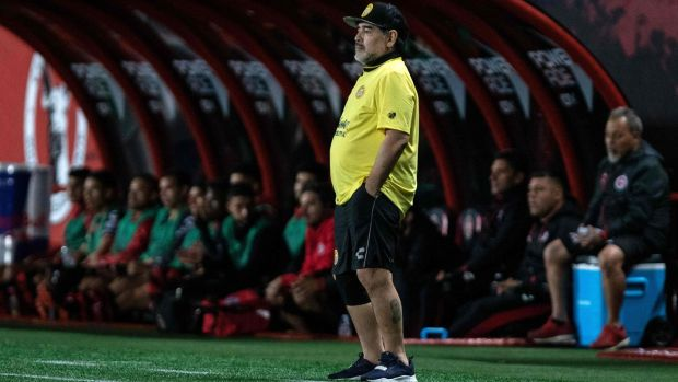 Diego Maradona is now the coach of Mexican second-division club Dorados. Photograph: Getty Images