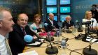 Presidential candidates Peter Casey, Gavin Duffy, Joan Freeman, Seán Gallagher, incumbent Michael D Higgins and Liadh Ní Riada in studio for a debate on RTÉ Radio 1 in Dublin. Photograph: Clodagh Kilcoyne/Reuters