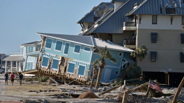 Damaged houses on Mexico Beach in Florida. Photograph: Getty Images
