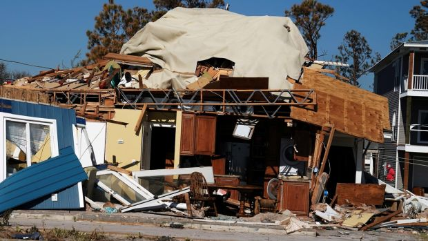 A home destroyed by Hurricane Michael is pictured on Mexico Beach, Florida. Photograph: Reuters