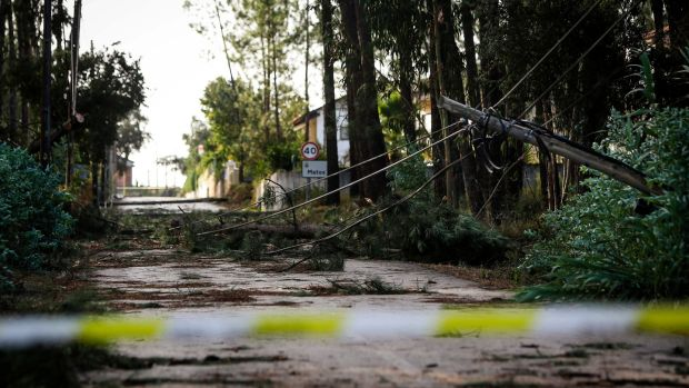 A road is closed after an electric pole fell during storm Leslie. Photograph: Getty