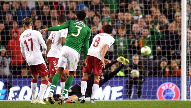 Cyrus Christie takes a shot on goal during the Nations League match against Denmark at the Aviva stadium. Photograph: Mike Hewitt/Getty Images