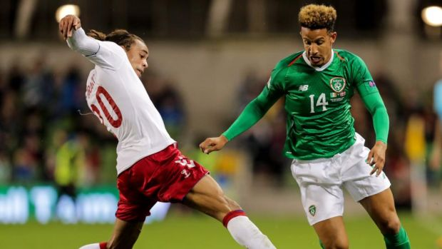 Ireland's Callum Robinson goes past Yussuf Poulsen of Denmark during the Nations League game at the Aviva Stadium. Photograph: Laszlo Geczo/Inpho